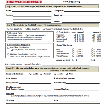 HUPAC Contribution Form